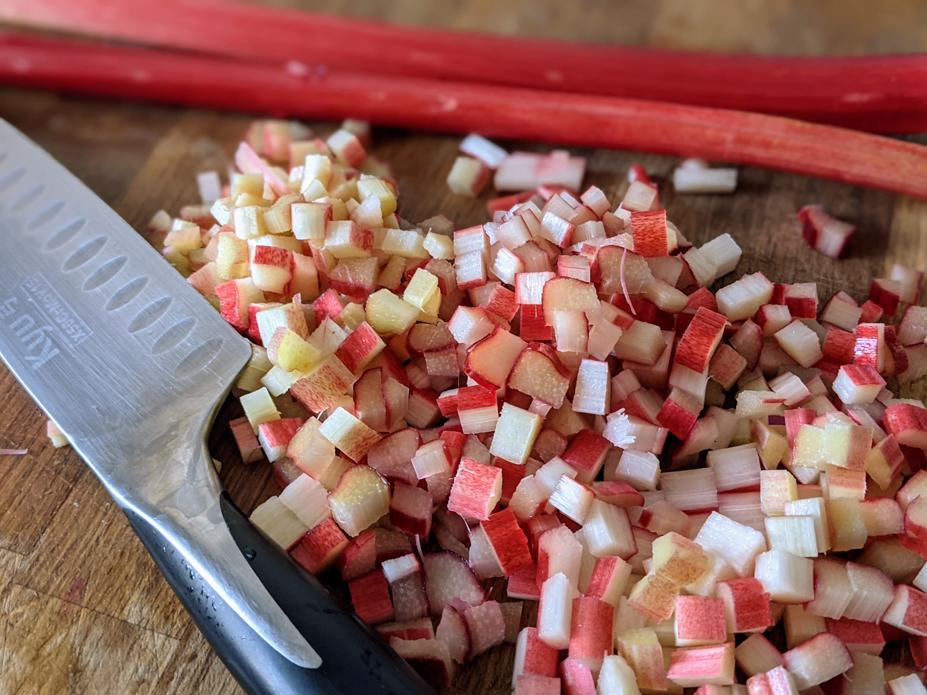 Rhubarb stalks diced